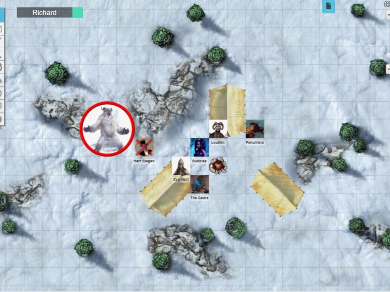 Roll20 map showing yeti attacking the characters' camp in the snow