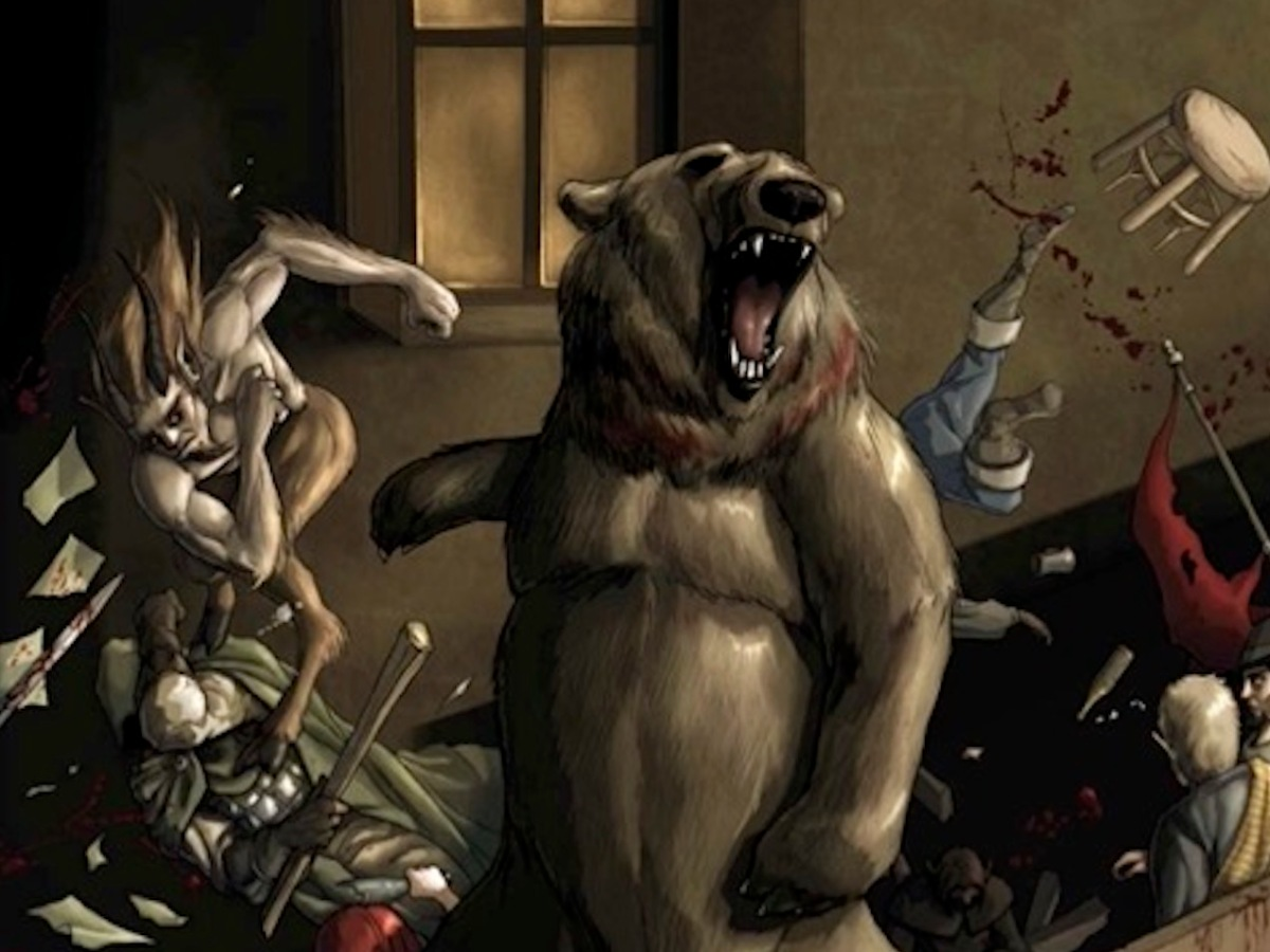 A bear and a gang of satyrs run amok inside a tavern
