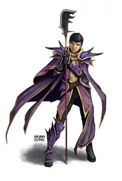 Frulam Mondath, Wearer of Purple, wields a halberd