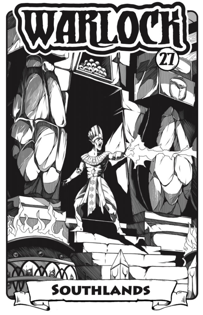 Cover of Warlock 27, Southlands, showing a mage casting a spell on the temple steps