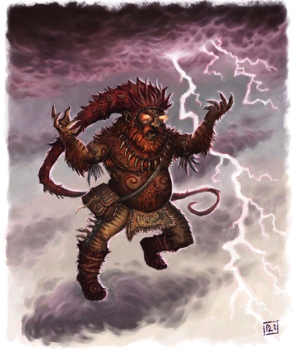 The Nain Rouge, his fingers crackling with lightning