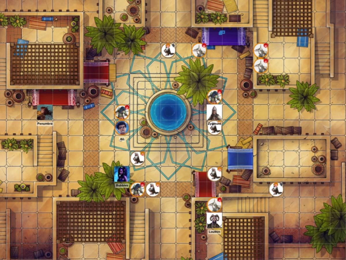 Desert city market square battle map